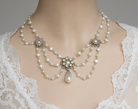 Vintage Bridal Necklace ~ Rhinestone Silver Multi Strand Necklace