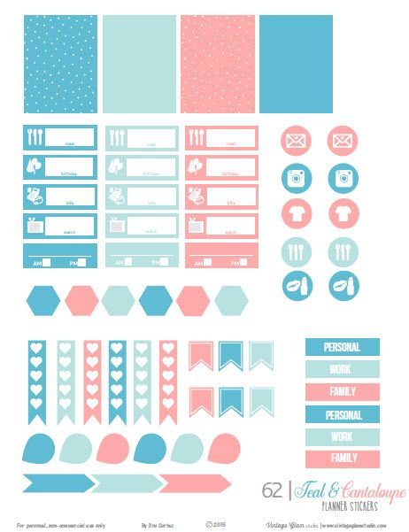 Free planner stickers printable download for your personal planning or papercrafting use. Color scheme is in teal and peach.