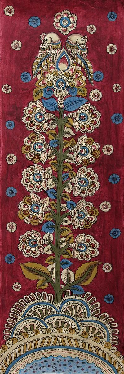 Kalamkari painting, 'Celebration' - Signed India Kalamkari Painting in Burgundy and Blue