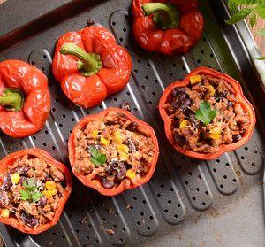 Grilovaná paprika plněná mexickými fazolemi