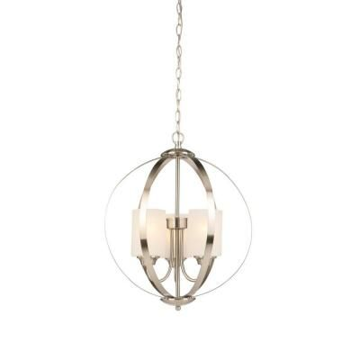 Hampton Bay 3-Light Brushed Nickel Chandelier-WB1002-CL - The Home Depot