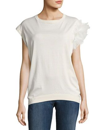 Tulle-Ruffle+Cotton+Sweater+Top,+White+by+Brunello+Cucinelli+at+Neiman+Marcus+Last+Call.