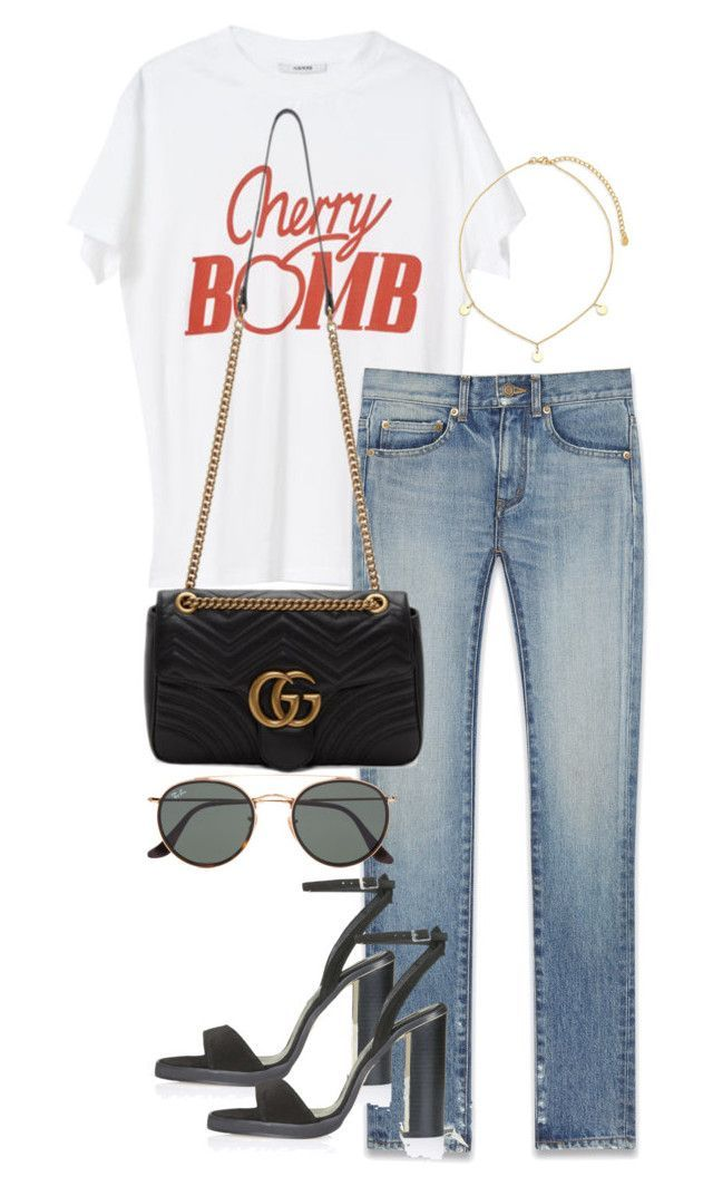 Untitled #4236 by theeuropeancloset on Polyvore featuring Yves Saint Laurent, Gucci, Ray-Ban, Argento Vivo and Topshop