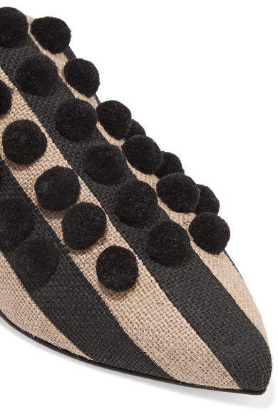 Sanayi313 - Pompom-embellished Striped Canvas Slippers - Black - IT40