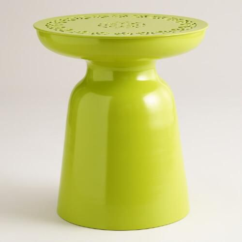 One of my favorite discoveries at WorldMarket.com: Apple Green Metal Dimitri Outdoor Stool &69. Front courtyard?