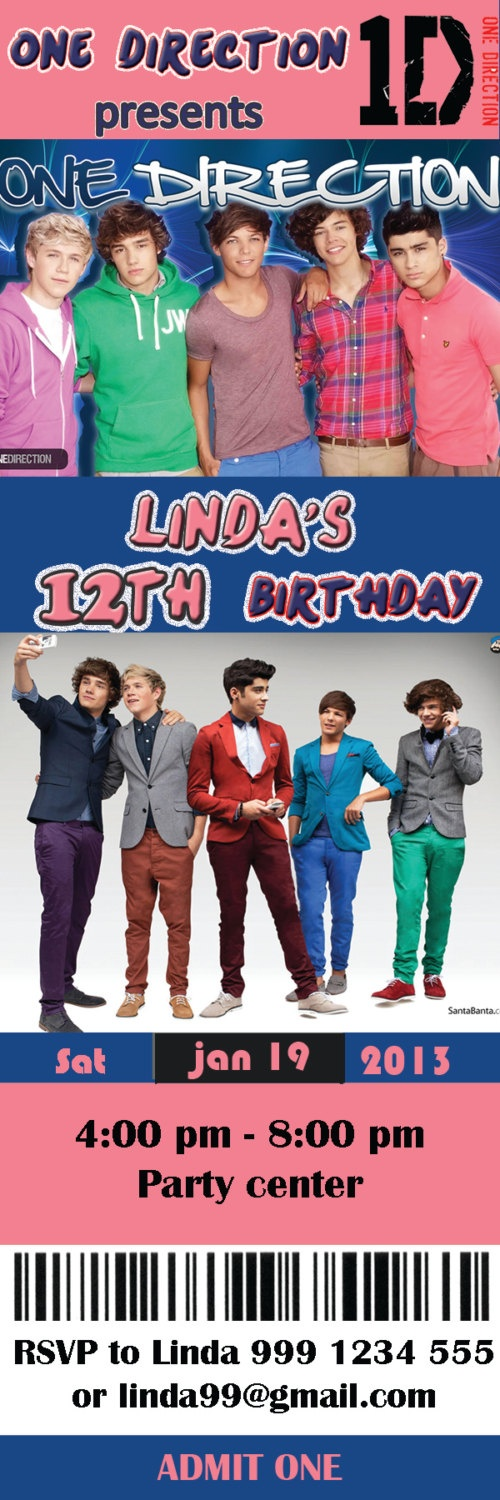 the 56 best images about one direction birthday on pinterest | vip, Printable invitations
