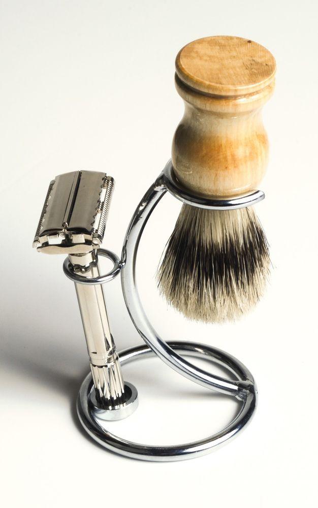 Double Edge Razor Shaving Set - w/ Boar Brush, Stand & Free Travel Case  $34.99