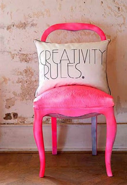 : Hotpink, Design Interiors, Interiors Design, Creative Rules, Pink Chairs, Hot Pink, Old Chairs, Diy Home, Neon Pink