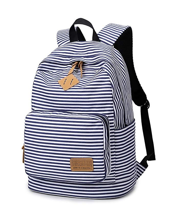 830aba5b0315 Spalison Striped Canvas Backpack Girls School Bag Women Casual Travel  Daypack Fashion Backpacks For Women  backpackreview  FashionBackpacks   ...