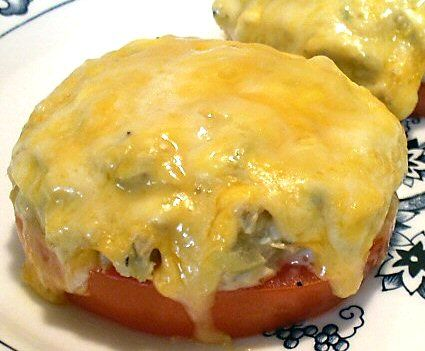 THM S Tuna Melts on tomatoes; great satisfying Trim Healthy Mama lunch on a chilly day!