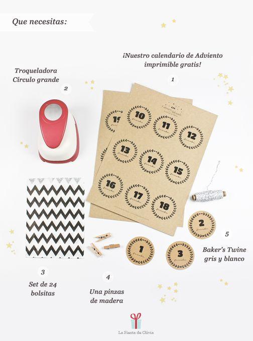 Imprimible + DIY Calendario de Adviento de La fiesta de Olivia // Free printable numbers for advent calendar + DIY