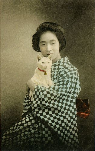 Japanese girl with cat - old postcard