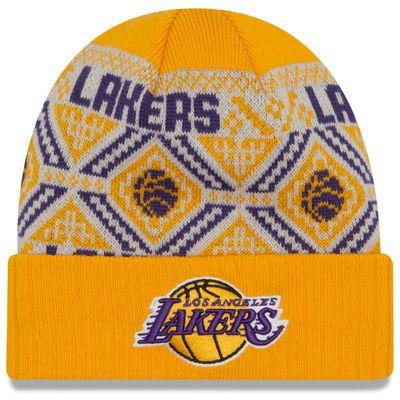Men's New Era Purple Los Angeles Lakers Current Logo Cozy Cuffed Knit Hat