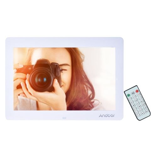Andoer 14 Wide Screen HD LED Digital Picture Frame Digital Album High Resolution 1280*800 Electronic Photo Frame with Remote Control Multiple Functions Including LED Clock Calendar MP3 MP4 Movie Player Support Multiple Languages