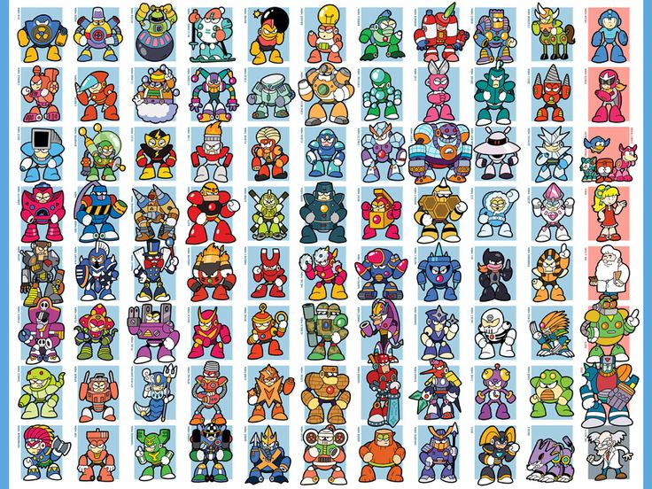 "An updated version of my ""All Mega Man Bosses Ever"" poster, now including the Mega Man 9 bosses, and, since I needed to make everything line up, a few good guys as well. If you are interested in su..."