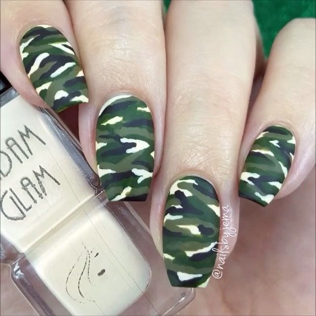 Camouflage nails by @nailsbyjema Song: Demi Lovato - Confident
