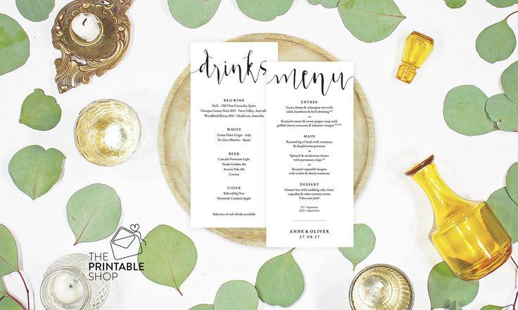 Rustic wedding menu, Wedding drinks menu design, Printable wedding menus, Rustic drinks menu, Rustic menu printable, Rustic reception menu by ThePrintableShopcom on Etsy https://www.etsy.com/listing/269068657/rustic-wedding-menu-wedding-drinks-menu