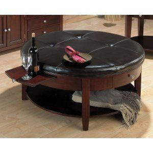 Surrey Round End Table With Leather Top Coffee Table Ottomans At Ottomans  From Ottomans.com