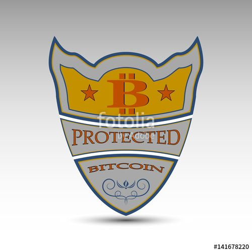 Вектор: The vector shield with bitcoin symbol