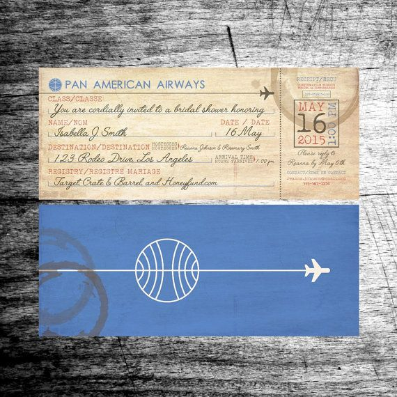 Vintage Airline Boarding Pass Bridal Shower Invitation. PanAm Wedding Shower Invitation. Wedding Invitation. Vintage Ariline Ticket by BlairPrintables