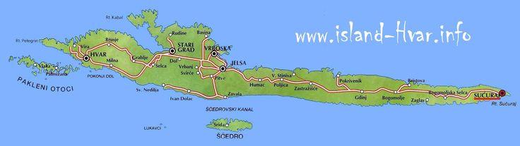 Map of Dalmatian coast, Croatia