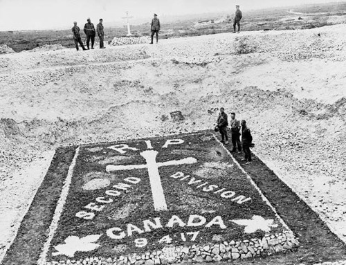 Memorial to men of the 2nd Canadian Division who were killed at Vimy Ridge.