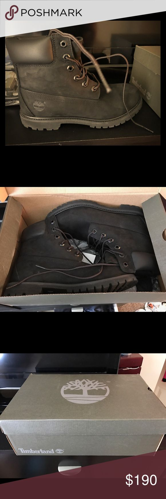 Timberlands with Cleaning kit BRAND NEW. never worn. All black Timberlands. Also including a cleaning kit with them woman's 8.5 Timberland Shoes Lace Up Boots