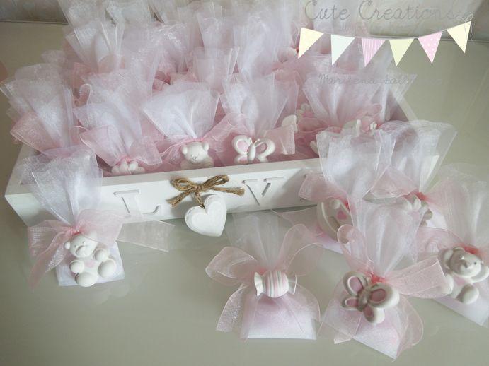 Bomboniere di gessetti profumati con confettata per nascita www.cutecreations.it