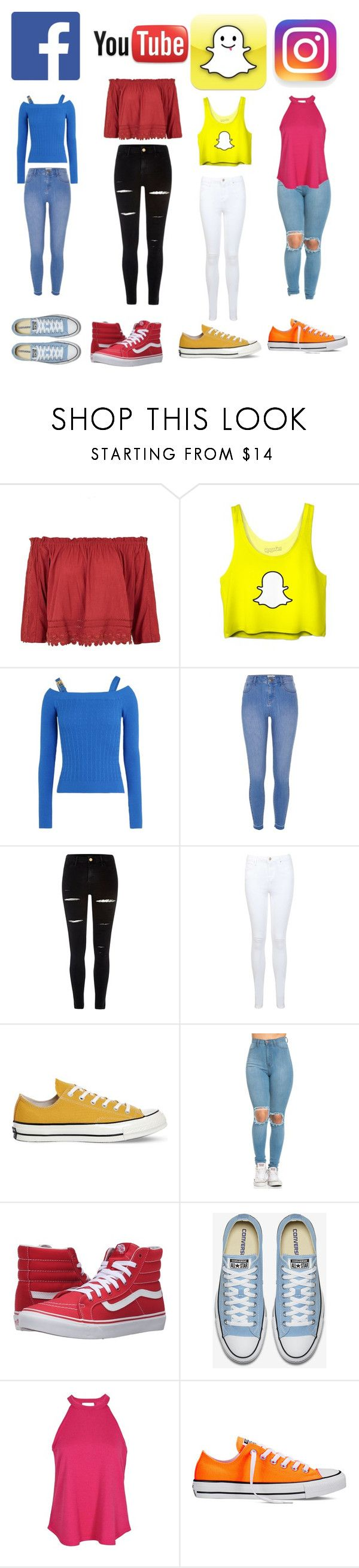 """Social media"" by alicia-brockett ❤ liked on Polyvore featuring Topshop, Love Moschino, River Island, Miss Selfridge, Converse, Vans and Boohoo"