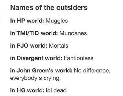 No, the outsiders in The Hunger Games are not to be referred to as dead. A fair number of the insiders are dead too!