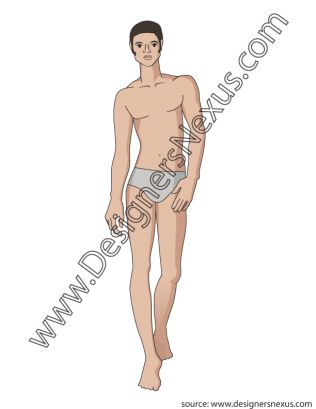 Fully Rendered Male Fashion Figure Illustration V3 Front Walking - FREE .ai & .png download at designersnexus.com!