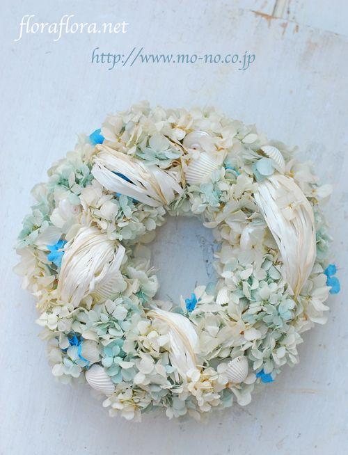 バイカラーの花達で プリザーブドフラワー夏のリース 花時間プ*リ*ザvol.9掲載 Preserved flowers * Summer wreath * Tokyo * *FlowerStudioFLORAFLORA 東京フローラフローラ ウェディングフラワー&フラワースクール