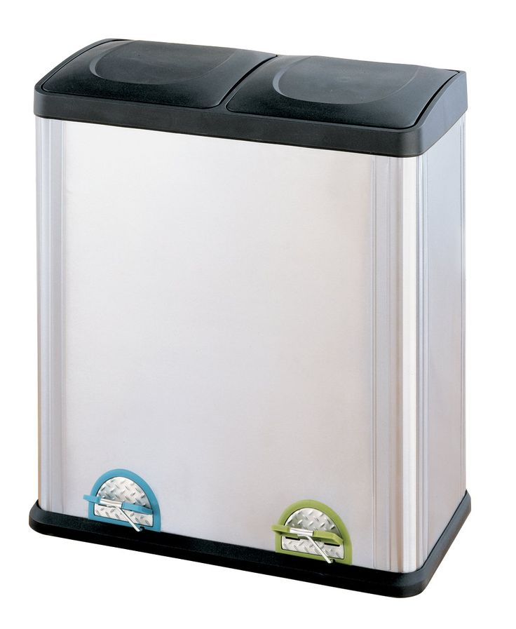 2 Compartment Step On Recycle Bin   16 Gallon