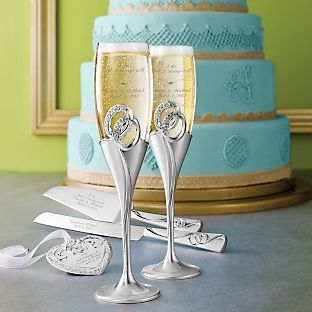 Lovely Double Wedding Rings Flute Set Symbolic to the tie that binds wedding