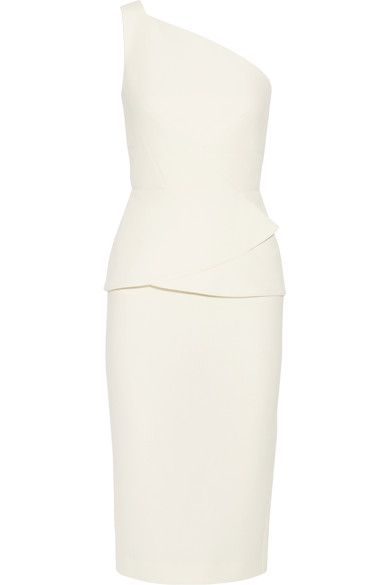Roland Mouret - Anerley One-shoulder Wool-crepe Dress - Cream - UK12