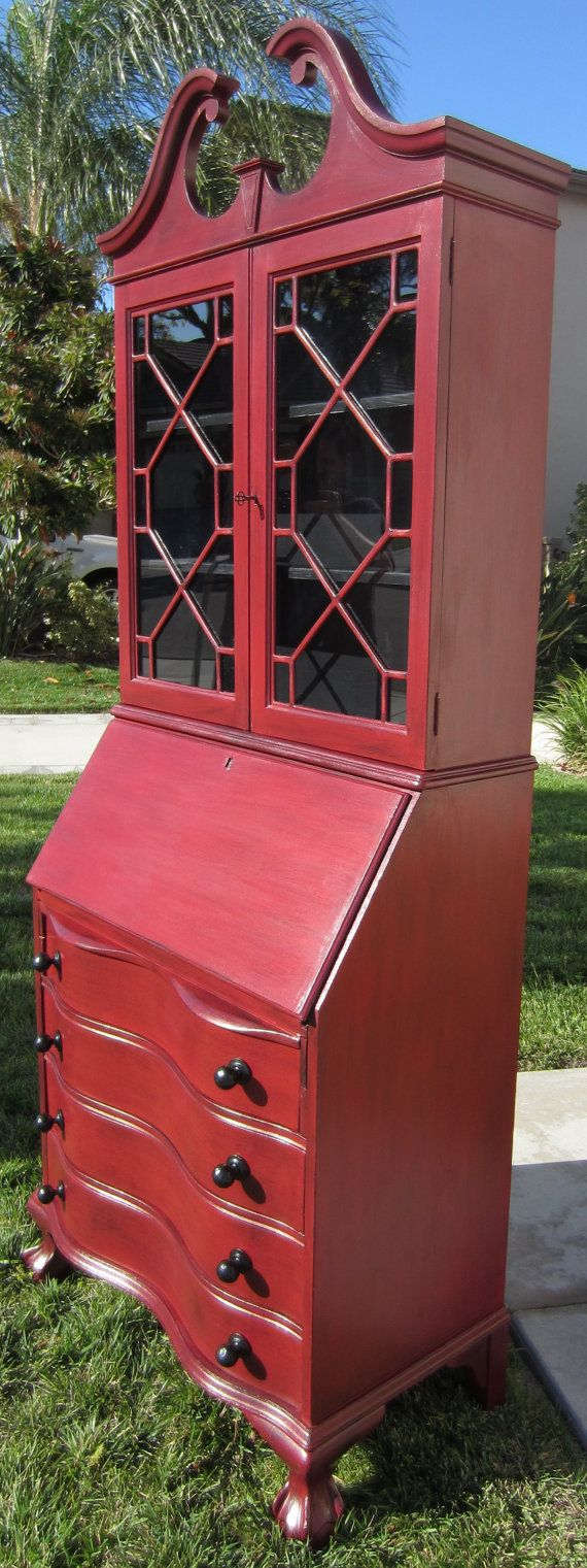 Items Similar To SOLD Rustic Red Antique Secretary Desk Hutch On Etsy