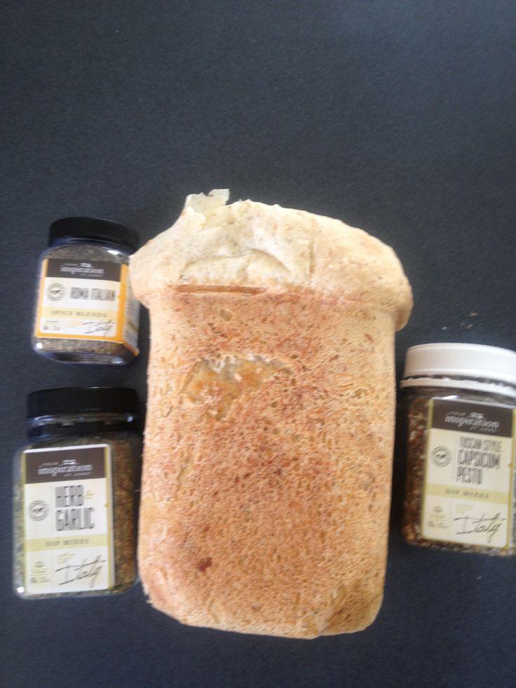Homemade bread using a mix of YIAH Tuscan Pesto Dip Mix, YIAH Herb and Garlic Dip Mix and YIAH Roma Italian Spice Blend