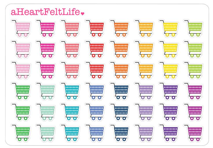 Rainbow Shopping Cart Stickers for your Erin Condren Planner, Plum Paper, Filofax, Scrapbook, Calendar, etc. by aHeartFeltLife on Etsy