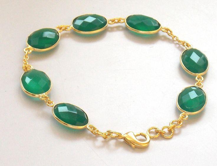 Beautiful Bracelet Green Onyx 14 X 10 mm Oval gold Plated Bracelets, Handmade Bracelet / fashion bracelet / Round Bracelets by PlantofJewel on Etsy