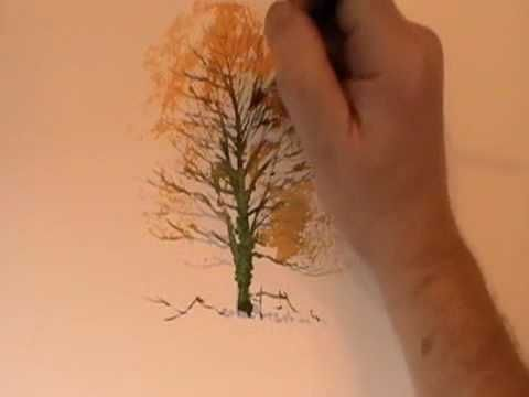 How to paint a winter tree in watercolor