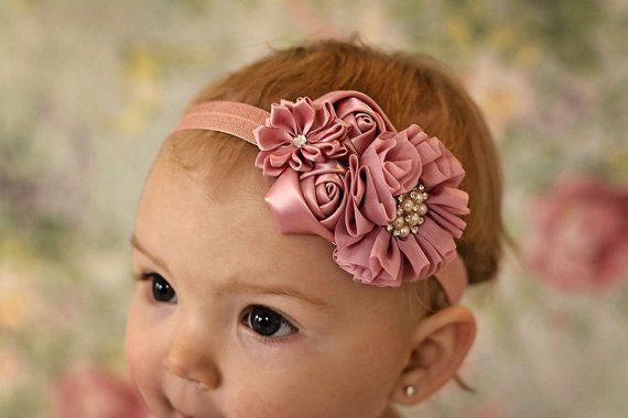 Vintage Pink Baby headband, newborn girl fancy satin fabric headband, hair bow hairbow on Etsy, $10.95
