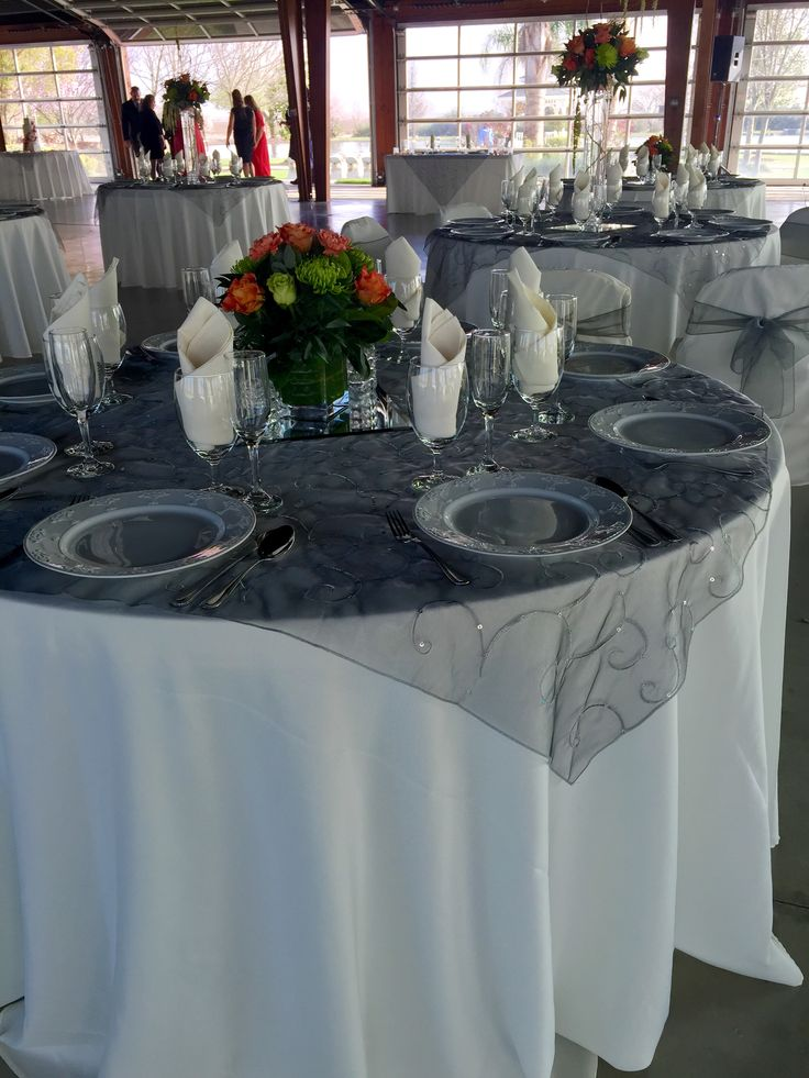 Ivory Table Cloth Grey Organza Overlay Ivory Napkin