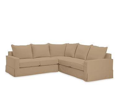 PB Comfort Square Arm 3 Piece L Shaped Corner Sectional Slipcover, Knife  Edge