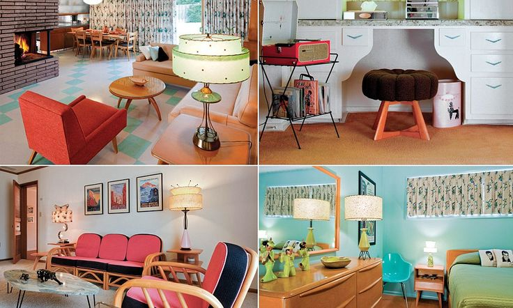 A salmon-coloured carpet, avocado green bed cover and blonde wood EVERYWHERE: How Fifties fanatic transformed her home into homage to mid-century decor