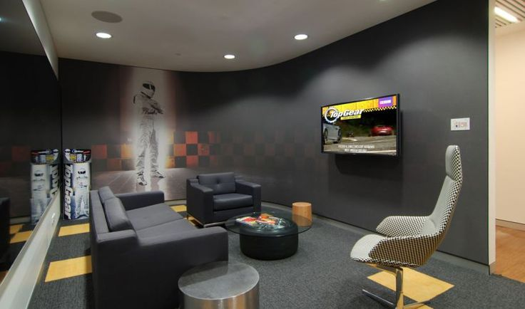 Modern Breakroom Design   Lose The Automotive Theme U0026 This Might Work. Color  Scheme, TV Mount, Subtle Furniture | [office Interior Design] | Pinterest  ...