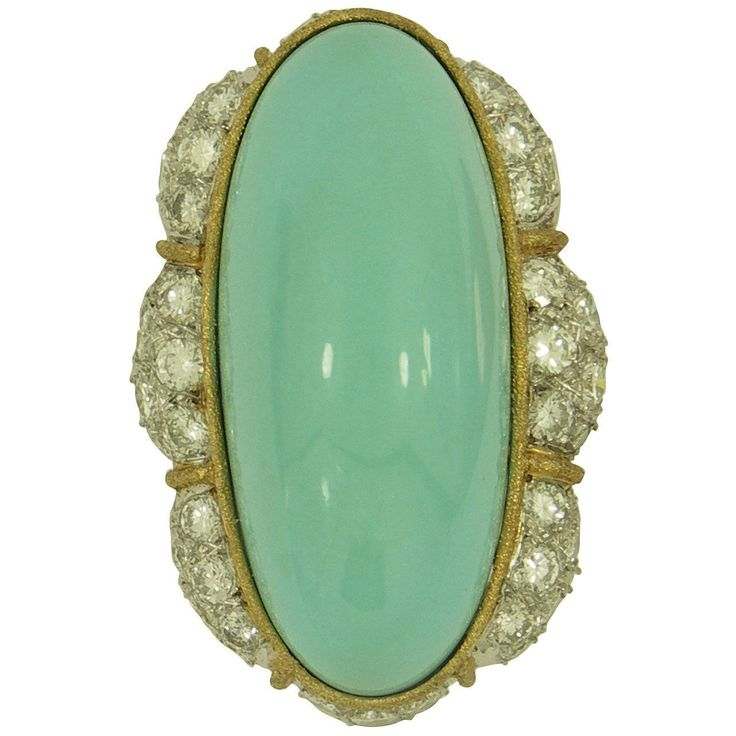 Elongated Turquoise Diamond Gold Cocktail Ring 1