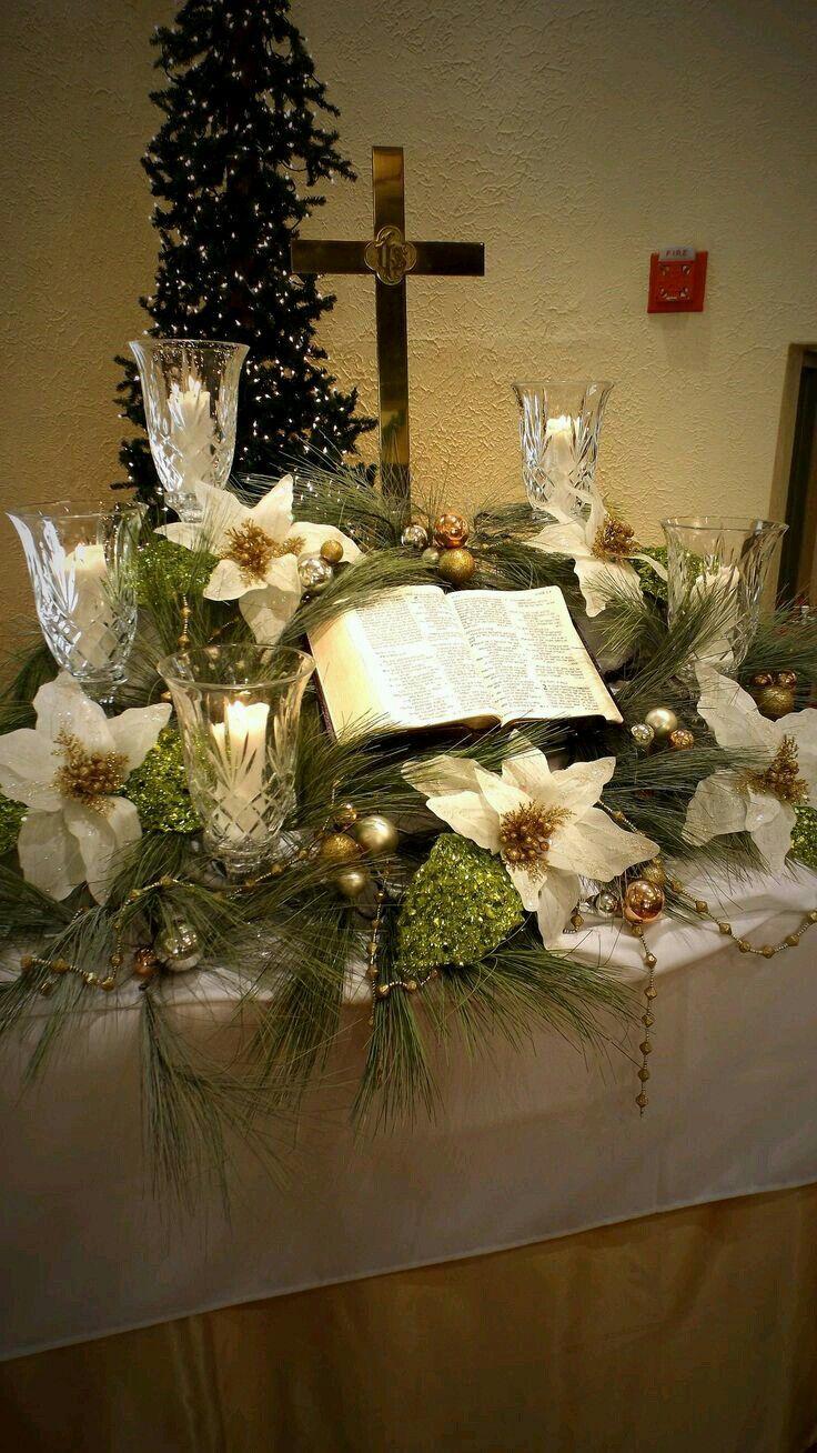 Church Altar Decorations, Church Christmas Decorations, Decorated Christmas  Trees, The Christmas, Christmas Lights, Christmas Flowers, Christmas Ideas,  ...