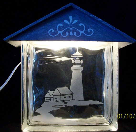 LIGHTED GLASS BLOCKS Light House by GETCOUNTRYDESIGNS on Etsy, $39.95