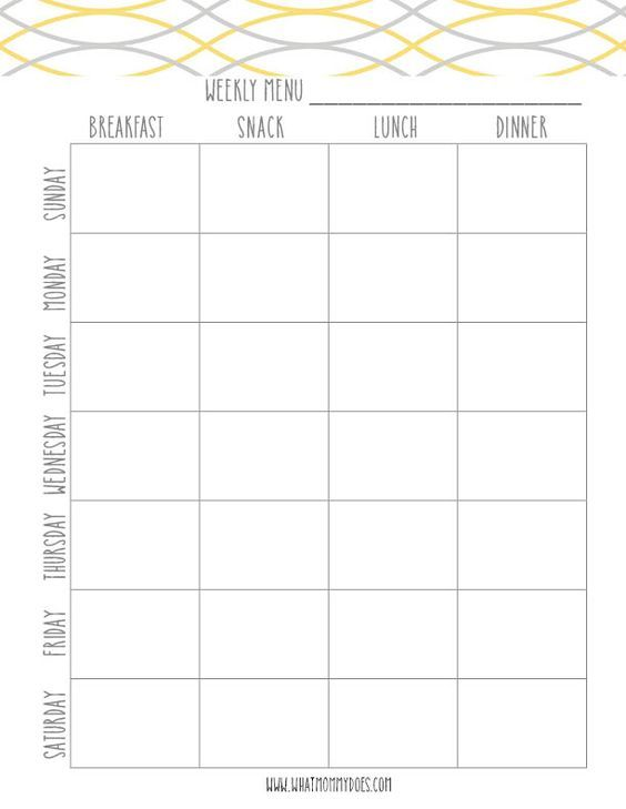 This weekly meal planning printable is great for organizing a weekly meal plan down to what you'll have for breakfast, lunch, dinner, and snack time! Great idea for busy families and especially for a weight loss plan.