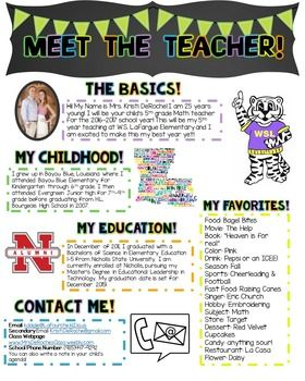 Looking for a cute newsletter you can hand out during open house, meet the teacher night, or on the first day of school for your students and parents to get to know you? This editable newsletter is what you need! Customize the headers and the bodies of text! Perfect for all grade level and subject areas!  I put my information in there as an example but be free to change the cliparts and wordings to make it your own!